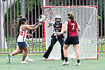 Santa Barbara, CA 02/18/12 - Lexa Taylor (Santa Clara #30), Jenna Herzog (Santa Clara #5) and Alexis Montano (Arizona #25) in action during the Santa Clara-Arizona game at the 2012 Santa Barbara Shootout.  Santa Clara defeated Arizona 18-9.