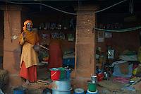 Sadhu living Quarters at the Shambhu Nath Hindu traditional Cremation Area, Kathmandu, Nepal