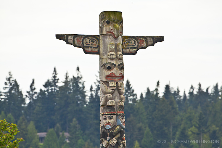 This modern totem pole was carved from a 720 year-old Western Red Cedar that was felled by a storm. Ludlow, Washington.
