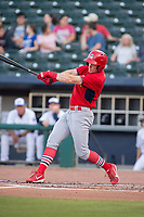 Springfield Cardinals outfielder Conner Capel (12) connects on a pitch on May 16, 2019, at Arvest Ballpark in Springdale, Arkansas. (Jason Ivester/Four Seam Images)