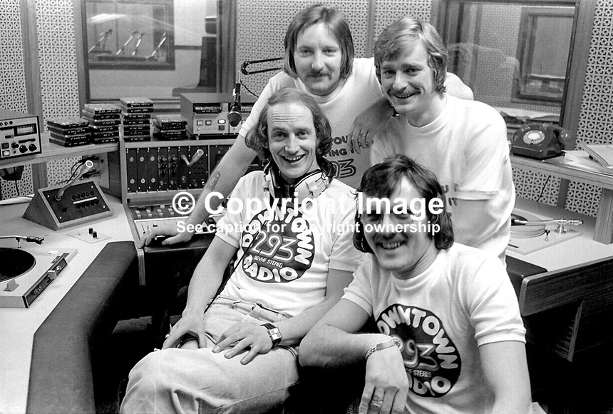 Downtown Radio presenters, top to bottom, John-Paul Ballantine, Paul Prenter, Michael Henderson, aka Hendi, with headphones, and Trevor Campbell, better known as Big T. 197603130148b..CAPTION UPDATE September 2011: John Paul Ballantine is now programme controller at Citybeat Radio, Belfast; Paul Prenter was a presenter for 2 years from 76 to 78 and then went off to work as Queen's tour manager sadly passing away in the 90's; Michael Henderson no longer&nbsp;works in broadcasting; and Big T is still a fulltime presenter with Downtown Radio.<br />