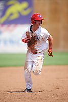 Auburn Doubledays second baseman Dalton Dulin (1) running the bases during a game against the Vermont Lake Monsters on July 13, 2016 at Falcon Park in Auburn, New York.  Auburn defeated Vermont 8-4.  (Mike Janes/Four Seam Images)