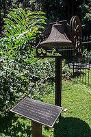 Historic bell which hung from a church where Hawaii Tropical Botanical Garden was first established in 1977 by Dan and Pauline Lutkenhouse, Papa'ikou, just north of Hilo, Big Island of Hawaiʻi.