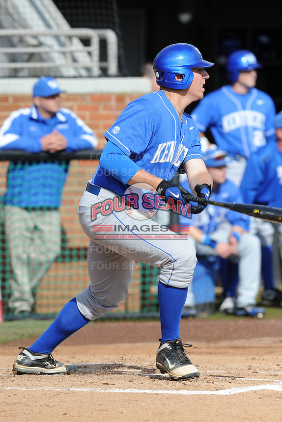 Designated Hitter A.J. Reed #18 swings at a pitch during a  game against the Tennessee Volunteers at Lindsey Nelson Stadium on March 24, 2012 in Knoxville, Tennessee. The game was suspended in the bottom of the 5th with the Wildcats leading 5-0. Tony Farlow/Four Seam Images.
