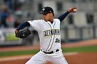 Pitcher Joel Huertas (26) of the Columbia Fireflies delivers a pitch in a game against the Lakewood BlueClaws on Friday, May 5, 2017, at Spirit Communications Park in Columbia, South Carolina. Lakewood won, 12-2. (Tom Priddy/Four Seam Images)