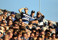 A general view of Bath supporters watching the match. Aviva Premiership match, between Bath Rugby and Harlequins on October 31, 2015 at the Recreation Ground in Bath, England. Photo by: Robbie Stephenson / JMP for Onside Images