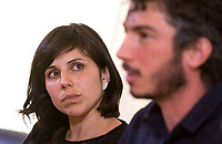 Italian journalist Gabriele Del Grande, right, flanked by his companion Alexandra D'Onofrio, attends a press conference at the Foreign Press Association in Italy's headquarters in Rome, April 25, 2017, the day after his return from Turkey, where he had been detained for 2 weeks.<br /> UPDATE IMAGES PRESS/Riccardo De Luca