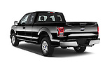 Angular Rear Three Quarter View of 2015 Ford F-150 XLT SuperCab 2 Door Truck Stock Photo