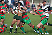 Ethan James arrives to help Sosefu Kata tackle Bundellu Aki. Counties Manukau Premier Club Rugby game between Wauku & Manurewa played at Waiuku on Saturday June 6th. Manurewa won 36 - 31 after leading 14 - 12 at halftime.
