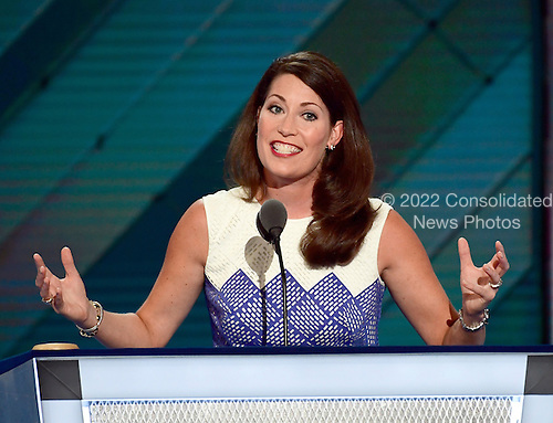 Secretary of State Alison Lundergan Grimes (Democrat of Kentucky) makes remarks during the second session of the 2016 Democratic National Convention at the Wells Fargo Center in Philadelphia, Pennsylvania on Tuesday, July 26, 2016.<br /> Credit: Ron Sachs / CNP<br /> (RESTRICTION: NO New York or New Jersey Newspapers or newspapers within a 75 mile radius of New York City)
