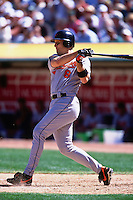 OAKLAND, CA - Cal Ripken Jr. of the Baltimore Orioles bats during the game against the Oakland Athletics at the Oakland Coliseum in Oakland, California in 2001. Photo by Brad Mangin