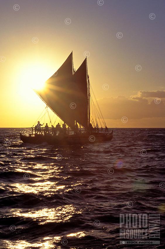 Hawaii loa, an authentic Hawaiian sailing canoe, a sister to the Hokulea, at sunset