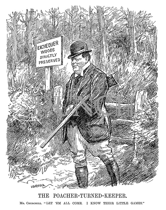 """The Poacher-turned-Keeper. Mr Churchill. """"Let 'em all come. I know their little games."""" (Winston Churchill with rifle protects the Exchequer Woods - Stricly Preserved during the InterWar era)"""