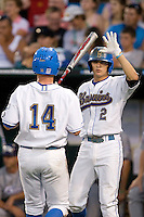 UCLA's Nicko Gallego in Game 6 of the NCAA Division One Men's College World Series on Monday June 21st, 2010 at Johnny Rosenblatt Stadium in Omaha, Nebraska.  (Photo by Andrew Woolley / Four Seam Images)