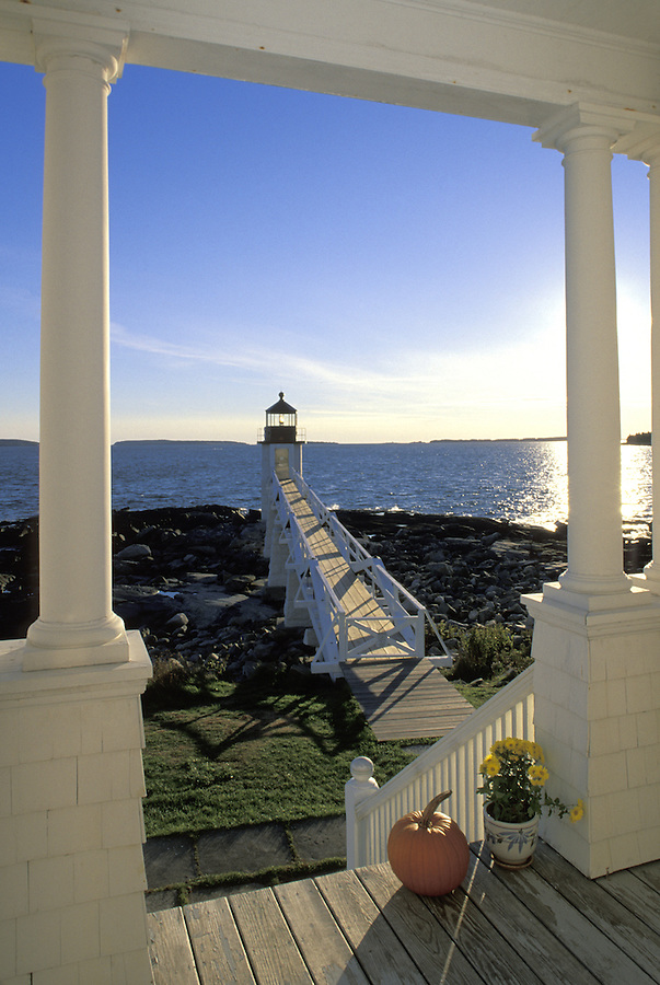 Marshall Point Light framed by porch columns of light keeper's house, Marshall Point, Maine