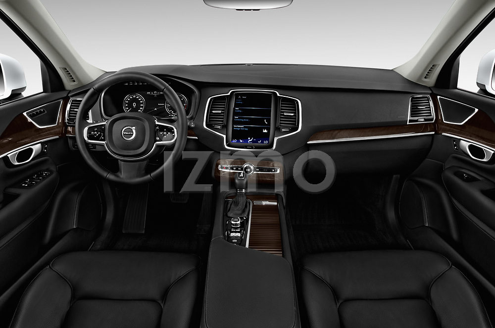 Stock photo of straight dashboard view of 2017 Volvo XC90 Momentum 5 Door SUV Dashboard