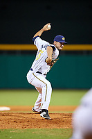 Montgomery Biscuits relief pitcher Jordan Harrison (26) delivers a pitch during a game against the Mississippi Braves on April 26, 2017 at Montgomery Riverwalk Stadium in Montgomery, Alabama.  Montgomery defeated Mississippi 5-2.  (Mike Janes/Four Seam Images)