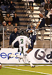 November 12, 2011:Nevada Wolf Pack receiver Rishard Matthews goes high for a pass as Hawaii's Mike Edwards watches during a WAC league game vs Hawaii played at Mackay Stadium in Reno, Nevada.