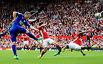 Robert Huth of Leicester City fires a shot at goal during the Premier League match at Old Trafford Stadium, Manchester. Picture date: September 24th, 2016. Pic Sportimage