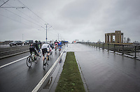 race start in Nieuwpoort (BEL) with peloton passing the WWI war memorial<br /> <br /> 1st Dwars door West-Vlaanderen 2017 (1.1)