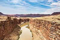 Highway 89A crosses Navajo Bridge alongside Vermilion Cliffs National Monument. Marble Canyon, Arizona.