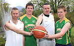Cormac O'Donoghue and Mark Cooper of the St. Brendan's Killarney team that won the All Ireland senior basketball title in 1988 with current St. Brendans  players Patrick O'Regan and John Fleming. The 1988 team will play the 2013 team on  Friday May 17th at 3.00 PM. in St. Brendan's College Gym. Picture: Eamonn Keogh ( MacMonagle, Killarney)