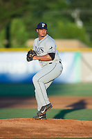 Princeton Rays starting pitcher Edrick Agosto (27) in action against the Burlington Royals at Burlington Athletic Stadium on August 12, 2016 in Burlington, North Carolina.  The Royals defeated the Rays 9-5.  (Brian Westerholt/Four Seam Images)