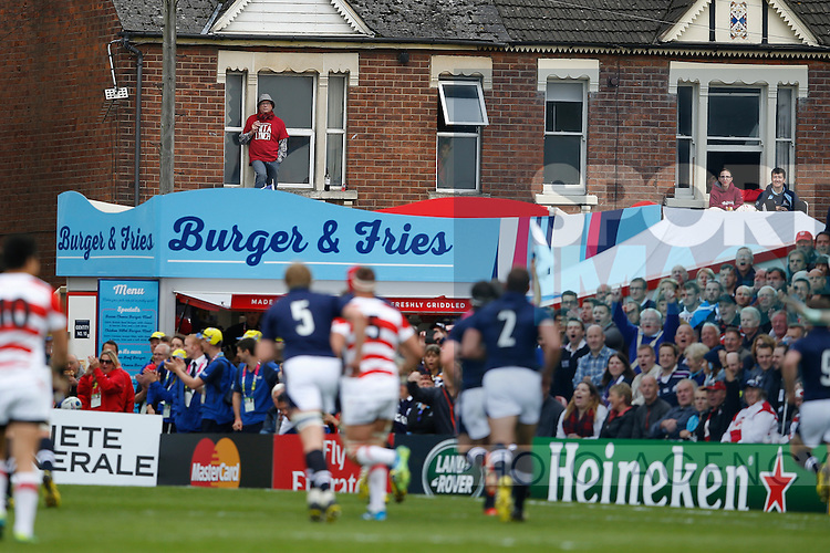 Fans watch from the adjacent houses - Rugby World Cup 2015 - Pool B - Scotland vs Japan - Kingsholm Stadium - Gloucester - England - 23rd September 2015 - Picture Simon Bellis/Sportimage