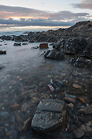 Rocks and water at dusk at Second Valley, South Australia.