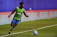 10th July 2020, Orlando, Florida, USA;  Seattle Sounders defender Kelvin Leerdam (18) controls the ball during the soccer match between the Seattle Sounders and the San Jose Earthquakes on July 10, 2020, at ESPN Wide World of Sports Complex in Orlando, FL.