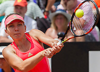 La rumena Simona Halep in azione contro la statunitense Venus Williams durante gli Internazionali d'Italia di tennis a Roma, 14 maggio 2015. <br /> Romania's Simona Halep in action against Venus Williams, of the US, during the Italian Open tennis tournament in Rome, 14 May 2015.<br /> UPDATE IMAGES PRESS/Riccardo De Luca
