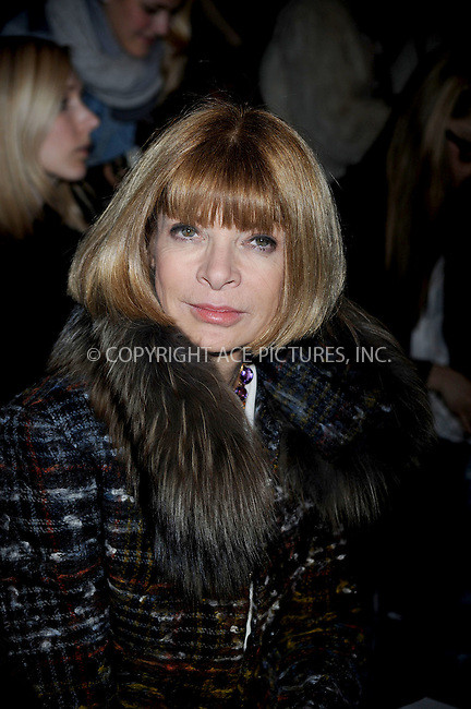 WWW.ACEPIXS.COM . . . . .....February 13, 2009. New York City.....Anna Wintour attends the Rag and Bone Fall 2009 Fashion Show during Mercedes-Benz Fashion Week at Cedar Lake on February 13, 2009 in New York City...  ....Please byline: Kristin Callahan - ACEPIXS.COM..... *** ***..Ace Pictures, Inc:  ..Philip Vaughan (646) 769 0430..e-mail: info@acepixs.com..web: http://www.acepixs.com