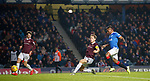 01.12.2019 Rangers v Hearts: Christophe Berra under pressure from Alfredo Morelos scores an own goal