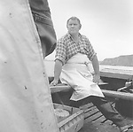 A salmon netter sitting in a coble (boat) on the way to emptying bag nets in the waters off Boddin, Angus.<br /> Ref. Catching the Tide 41/00/04 (20th June 2000)<br /> <br /> The once-thriving Scottish salmon netting industry fell into decline in the 1970s and 1980s when the numbers of fish caught reduced due to environmental and economic reasons. In 2016, a three-year ban was imposed by the Scottish Government on the advice of scientists to try to boost dwindling stocks which anglers and conservationists blamed on netsmen.