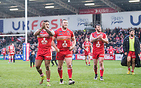 Picture by Allan McKenzie/SWpix.com - 04/03/2017 - Rugby League - Betfred Super League - Salford Red Devils v Warrington Wolves - AJ Bell Stadium, Salford, England - Salford's Greg Johnson, Josh Jones & Ryan Lannon thank the fans for their support after their side's victory over Warrington.