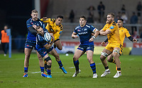8th November 2019; AJ Bell Stadium, Salford, Lancashire, England; English Premiership Rugby, Sale Sharks versus Coventry Wasps; Byron McGuigan of Sale Sharks  contests the ball in the air with Zach Kibirige of Wasps - Editorial Use