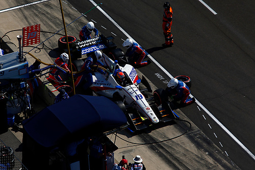 Verizon IndyCar Series<br /> IndyCar Grand Prix<br /> Indianapolis Motor Speedway, Indianapolis, IN USA<br /> Saturday 13 May 2017<br /> Ed Jones, Dale Coyne Racing Honda pit stop<br /> World Copyright: Phillip Abbott<br /> LAT Images<br /> ref: Digital Image abbott_indyGP_0517_4875
