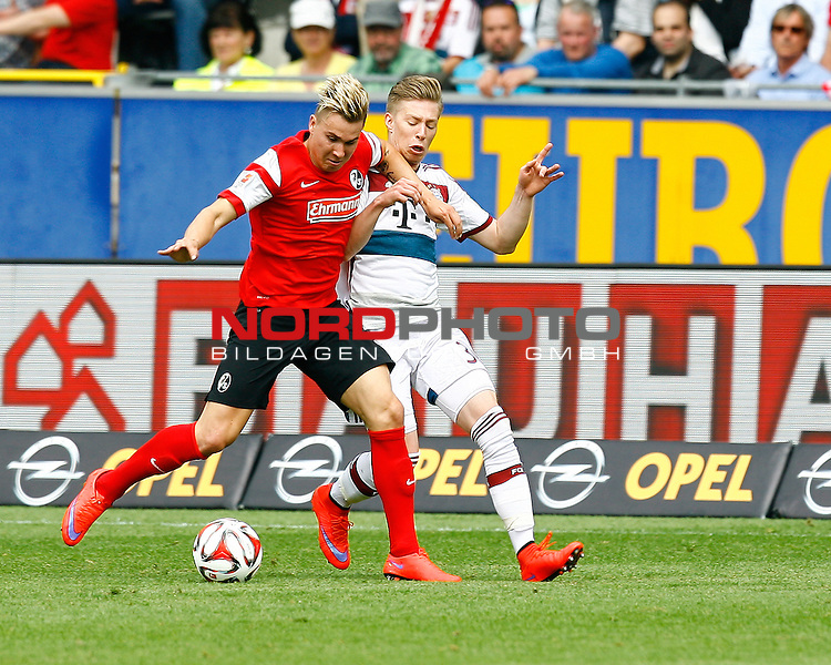 Felix KLAUS, SCF - Mitchell WEISER, FCB, Aktion quer, Fu&szlig;ball 1.BL Saison 2014/2015<br /> <br /> Foto &copy; nordphoto /  H.Konkel