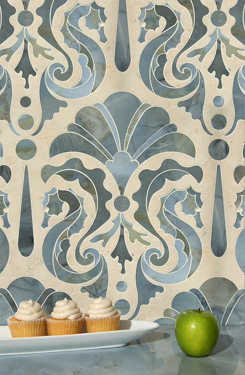 """Caroushell®, a waterjet stone mosaic, shown in polished Pacifica and Bianco Antico, is part of Cean Irminger's second KIDDO Collection, """"KIDDO: Wunderkammer® Edition"""" for New Ravenna."""