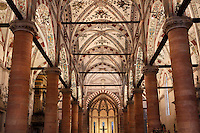 Low angle view of the  central nave, Basilica of Saint Anastasia, c.1290-1400, by the Dominican friars Fra' Benvenuto da Imola and Fra' Nicola da Imola, Verona, Italy. It was consecrated in 1471. Sant'Anastasia is Italian Gothic in style, with 3 crossed naves and 5 polygonal apses. It was restored in 1878-81. Picture by Manuel Cohen.