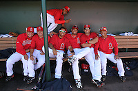 TEMPE - MARCH 10:  Kendry Morales, Juan Rivera, Bobby Abreu, Maicer Izturis, Erick Aybar and other teammates of the Los Angeles Angels of Anaheim hangs gather for a picture in the dugout before a spring training game against the Cincinnati Reds on March 10, 2010 at Tempe Diablo Stadium in Tempe, Arizona. (Photo by Brad Mangin)