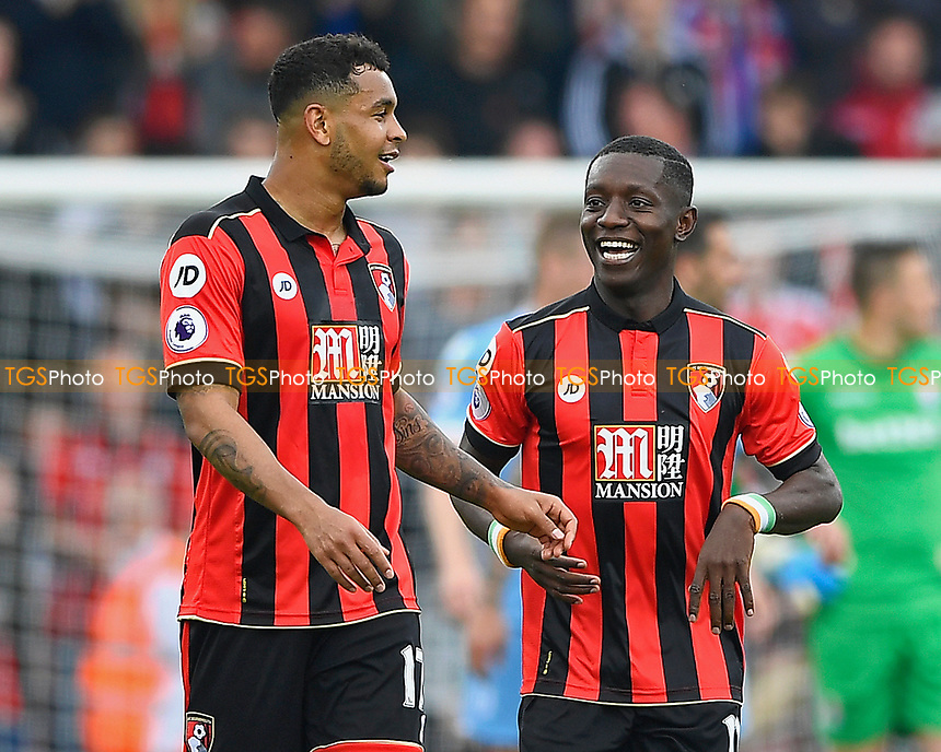 Joshua King of AFC Bournemouth left and Max Gradel of AFC Bournemouth  are all smiles after equalising to make the score 2-2 during AFC Bournemouth vs Stoke City, Premier League Football at the Vitality Stadium on 6th May 2017