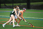 TAMPA, FL - MAY 20: Meghan O'Brien #25 of the Florida Southern Mocs and Kelly Gafney #27 of the Le Moyne Dolphins battle for the ball during the Division II Women's Lacrosse Championship held at the Naimoli Family Athletic and Intramural Complex on the University of Tampa campus on May 20, 2018 in Tampa, Florida. Le Moyne defeated Florida Southern 16-11 for the national title. (Photo by Jamie Schwaberow/NCAA Photos via Getty Images)