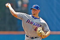 June 11, 2011:    Florida Gators rhp Karsten Whitson (22) pitches during NCAA Gainesville Super Regional Game 2 action between Florida Gators and Mississippi State Bulldogs played at Alfred A. McKethan Stadium on the campus of Florida University in Gainesville, Florida.   Mississippi State defeated Florida 4-3.........