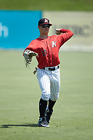 Steele Walker (10) of the Kannapolis Intimidators warms up in the outfield prior to the game against the Greensboro Grasshoppers at Kannapolis Intimidators Stadium on August 5, 2018 in Kannapolis, North Carolina. The Grasshoppers defeated the Intimidators 2-1 in game one of a double-header.  (Brian Westerholt/Four Seam Images)