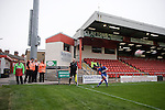 Stewards watching an Aldershot Town corner in front of the Blue Bell BMW Stand, during the League 2 fixture between Crewe Alexandra and Aldershot Town at the Alexandra Stadium. The visitors won by 2 goals to 1.