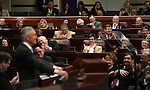 U.S. Senate Majority Leader Harry Reid makes a joke about the teleprompter while delivering an address to the Legislature, in Carson City, Nev., on Wednesday, Feb. 20, 2013..Photo by Cathleen Allison