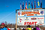 Close up of Iditarod Trail Race 2014 Start sign against blue sky, Willow, Southcentral Alaska, Winter.