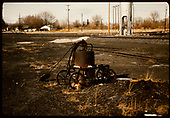 Wheeled sprayer? - Alamosa yards - Sand tower in background.<br /> D&amp;RGW  Alamosa, CO