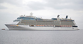 The cruise ship Celebrity Equinox at anchor in the harbor off Villefranche, France on Monday, October 21, 2013.  The Equinox is one of five Solstice-class cruise ships operated by Celebrity Cruises, a subsidiary of Royal Caribbean Cruises.  It is 1,041 feet (317.2 m) long and has a capacity of 2,850 passengers.  Equinox entered service in 2009.<br /> Credit: Ron Sachs / CNP